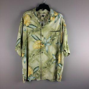 Tommy Bahama Silk Leaf Print button up shirt XL